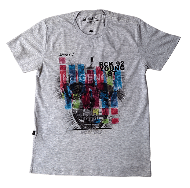Camiseta Opera Rock Flamê Mescla Caveira
