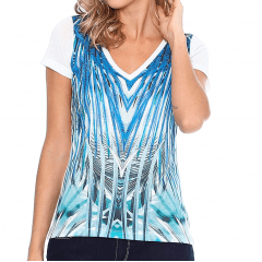 Blusa Estampada. Off White & Azul. Vicinal